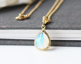 White Opal Glass Gold Pendant Necklace Modern Teardrop Opalescence Glass Necklace