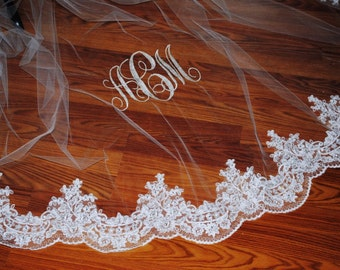 Reembroidered ivory or diamond white lace base veil, any length, with or without monogram