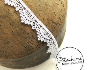 White Guipure Lace Wave Design Embroidered Trim, 1m for Bridal Millinery