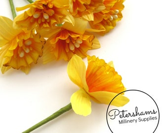 6 Small Yellow Daffodil Narcissus Flowers for Millinery, Headress & Tiara Making