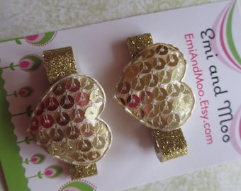 Glitter Gold Heart Barettes Set of 2 Hair Clip