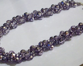 Purple Crystal Necklace Big Bold Chunky Necklace Large Czech Crystal Beaded Necklace Purple Bridesmaids Statement Necklace Crystal Jewelry