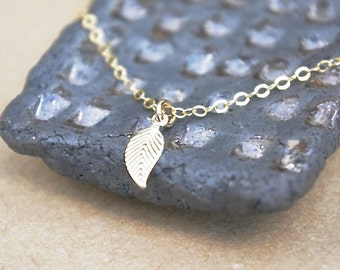 Gold Leaf Necklace, Dainty Leaf Jewelry, Gold Leaf Necklace, Everyday Necklace, Gold Necklace, Minimal Necklace, Gifts For Her,Gift For Girl