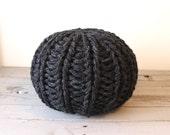 Medium knit pouf - hand knit wool blend