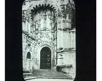 Late Gothic church doorway - magic lantern slide by Thomas Holmes Mason of Dublin