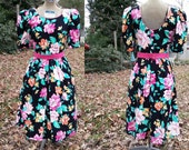 Lanz Originals 80s Dress - Vintage Dress - Floral Dress - 80s Party Dress with Puffed Sleeves Size 2