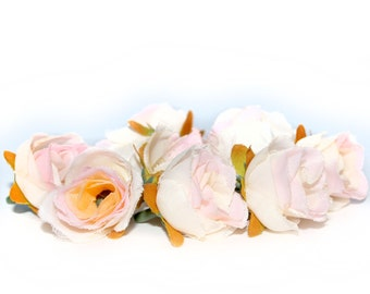 10 Small Cream Pink Tea Roses - Artificial Flowers, Silk Roses