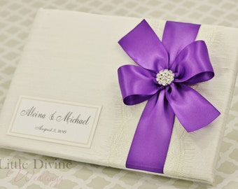 Wedding Guest Book Purple and Ivory Custom Made in your Colors