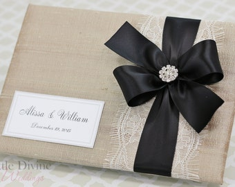 Champagne Wedding Guest Book Black Ribbon Custom Made in your Colors