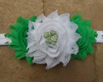 St. Patricks day  white and green shabby flowers and  green shamrock headband chiffon   newborn-toddler-girls