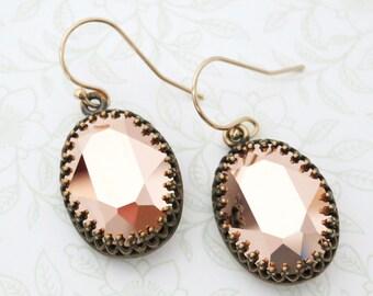 Rose Gold Crystal Earrings GOLD FILLED Ear wires, Brass Adjustable Swarovski Crystal Oval Bridal Bridesmaid Wedding Vintage Earrings