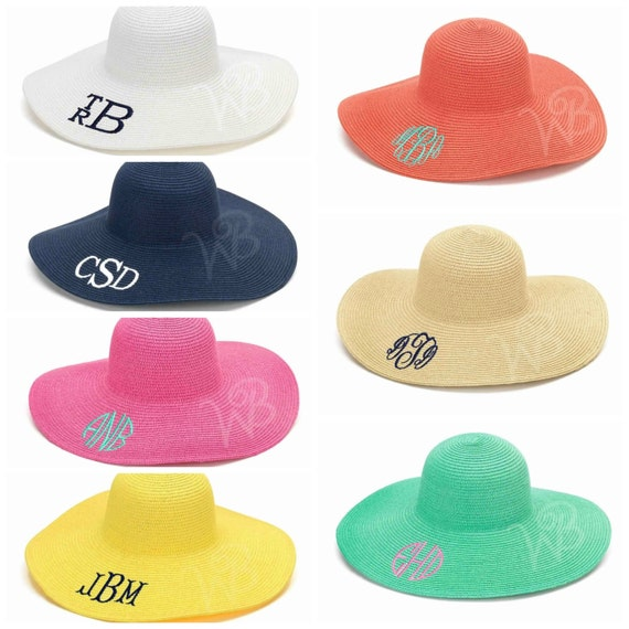 ladies monogrammed floppy beach sun hat beach summer
