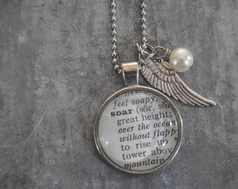 Vintage Dictionary Word Necklace SOAR with charms