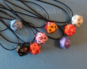 One Dozen D20 Pendants Random Color Assortment Wholesale 20 sided Dice Necklace Die Jewelry D&D dnd Tabletop Game RPG role playing game gift