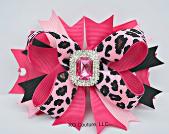 Leopard Boutique Dog Hair Bow with Bling Center