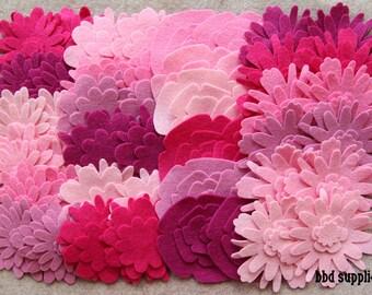 Tickled Pink - Flower Power Pack - 180 Die Cut Wool Blend Felt Flowers