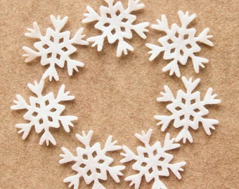 All White - Snowflakes in Style 3 - 24 Die Cut Felt Shapes