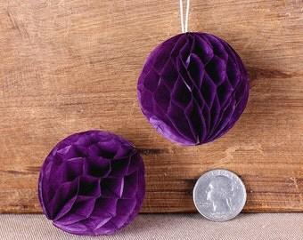 """Teeny Dark Purple Honeycomb Balls, 2"""" Honeycomb Ball, Purple Wedding Decorations, Purple Honeycomb Ball, Honeycomb Ball Straw Topper (6 ct)"""
