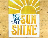 You Are My Sunshine Art Print | Love, Friendship, & Encouragement Art Print | 8x10 | Yellow | Made in the USA | AP 021