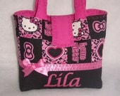 Personalize Hello Kitty frame Printed Little Girls Handbag-Pink and Black