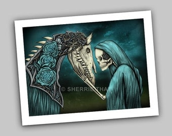 Momento Mori, Skeleton and Horse of Roses, Dark Fantasy Day of the Dead Gothic Art Print, Sale