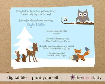 Digital Winter Baby Shower Invitations, Print Yourself Forest Friends Invite, Woodland, Electronic File, Digital File, DIY, Fast Delivery