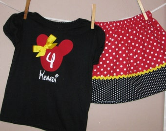 Custom Disney Inspired Traditional Minnie Mouse Outfit - Baby Toddler Girls Birthday - Perfect for Disney Trips or Gift