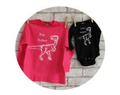 Big Sister Little Brother Shirt Set, Hand Printed Shirt and Baby Onepiece, Screen-printed Sibling Shirts, Long Sleeved Hot Pink and Black