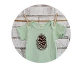 Pine Cone Baby Onepiece, Organic Cotton Infant Clothing, Hand Screenprinted, Outdoors, Camping, Spring Clothing, Pastel Mint Green One Piece