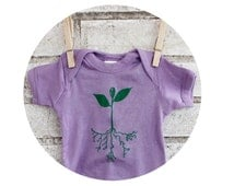 Little Sprout Baby Onepiece in Light Purple, Pastel Lavender, Hand Screenprinted, Gardening Outdoors, Sprouting Seeds, Spring and Summer