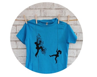 Youth Climbing Tshirt, Short Sleeved Cotton Crewneck Graphic Tee Shirt, Hand Printed, Screenprinted Shirt, Bright Turquoise Blue, Fitness
