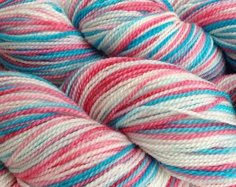Fingering Weight Hand Painted Merino Wool Sock Yarn in Circus Tent Red White Aqua
