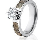 Realtree Camo Rings, Max 4 Engagement Bands w/ 1 CTW 14k Setting: Realtree Max 4-6F14G1RCTW