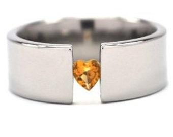 Titanium Tension Set Ring w/ Citrine Heart Gemstone, Comfort Fit:8FP-HRT-CIT