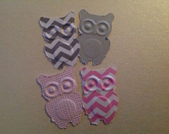 50 pc Pink  Gray Paper Owls    Confetti for a Baby Shower    Party    Reception    Wedding