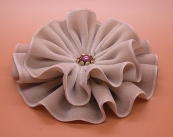 Tan Velvet Ribbon Cocarde Millinery Applique