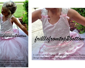 Pink with Ivory Lace Flower Girl Dress . Tutu Skirt . Halter Top w/ Lace straps . Sizes 12mo - 5T