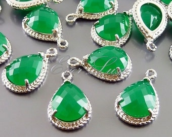 2 green agate glass stone pendants with rope rim, bridal / wedding jewelry supplies 5054R-GA (bright silver, green agate, 2 pieces)