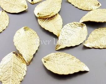 4 Matte gold single leaf charms, gold jewelry charms pendants, necklace bracelet pendants, craft supplies 1957-MG (matte gold, 4 pieces)