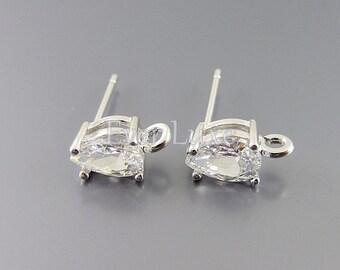 2 small CZ / Cubic Zirconia teardrop stud earrings, crystal earrings, bridal / wedding earrings jewelry 1019-BR (bright silver, 2 pieces)