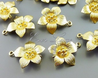2 feminine flower connectors, matte gold floral charms, flower charms, jewelry making findings C1606-MG (matte gold, connectors, 2 pieces)