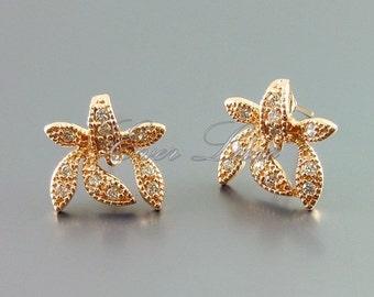 2 rose gold elegant iris flower CZ Cubic Zirconia earrings, crystal earrings, jewelry / jewellery 1401-BRG (bright rose gold, 2 pieces)