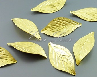 4 Matte gold realistic single leaf charms, necklace pendants, bracelet charms, nature inspired craft supplies 1059-MG (matte gold, 4 pieces)