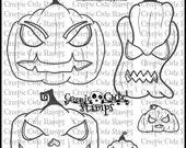 INSTANT DOWNLOAD Pumpkins set of 5 Digital Stamps