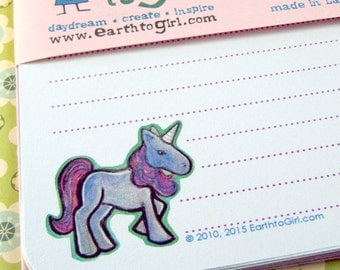 Purple Unicorn Stationery Set - Powder Blue Paper with Lavender Envelopes