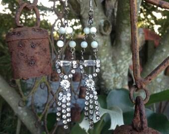 Upcycled Vintage Mother of Pearl with Rhinestone Dangly Earrings,ooak,Repurposed