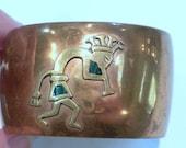 Copper Cuff Bracelet Kokopeli Dancer Malachite Accents