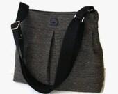 Black Tweed Pleated Messenger Bag - Tweed Crossbody Bag Purse - Black Shoulder Bag - Adjustable Strap