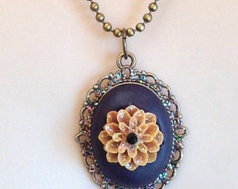 Polymer Clay and Flower Pendant Necklace - Antiqued Brass Tone