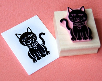 Glam Cat Hand Carved Rubber Stamp - Kitty Stamper - Gift for Cat Lover - Pet Present - Animal Lover - Scrapbooking - Card Making